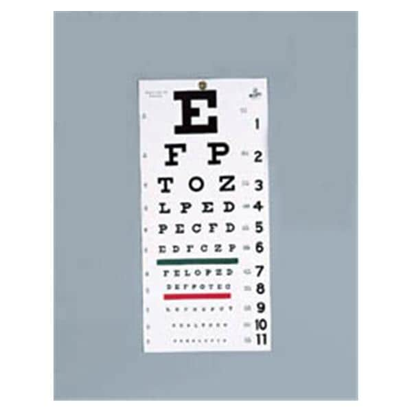 Chart Snellen Vision Testing 20 Testing Distance 22x11 Ea