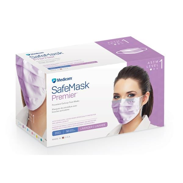 Safe Premier mask Mask Astm Lavender bx Face 50 Earloop 1 Level