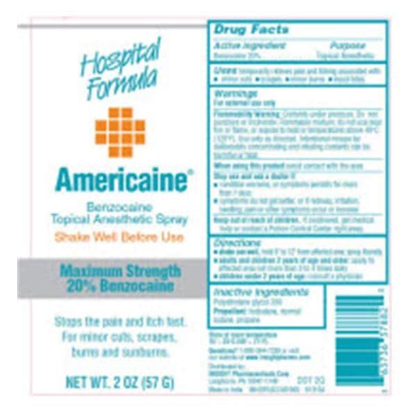 Americaine Benzocaine 20% Aerosol Spray 2oz 20% 2oz/Ea