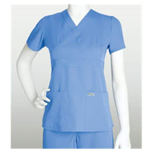 Greys Anatomy Scrub Shirt 4153 Crossover Womens Sm Ceil Blue Ea