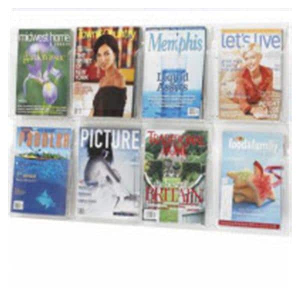 Wall Magazine Display 6 Pockets Clear 24 5/8 in x 30 in Ea