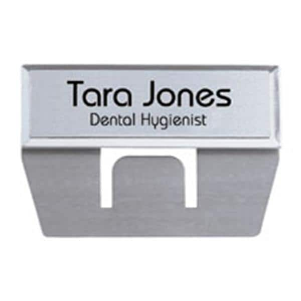 Pocket Name Badge Silver 0.75 in x 2.75 in With Logo Ea