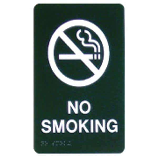 Custom Sign No Smoking Berry Plastic 6 in x 9 in White Imprint With Braille Ea