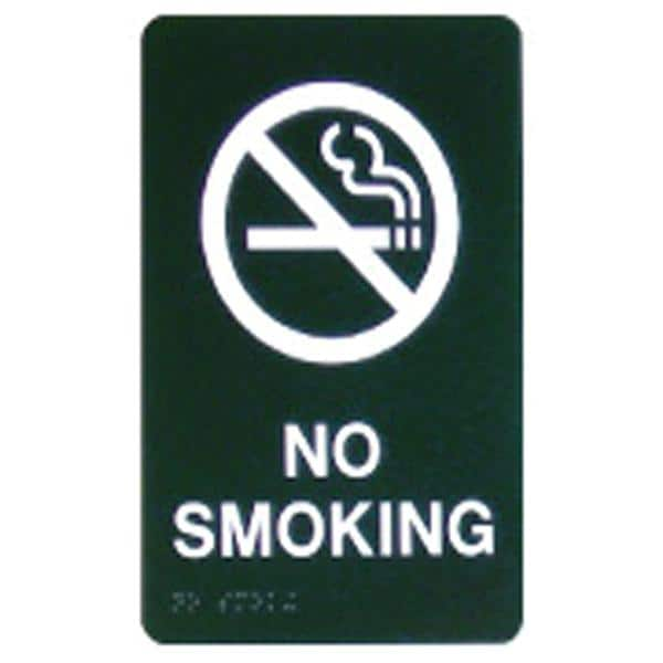 Custom Sign No Smoking Blue Plastic 6 in x 9 in White Imprint With Braille Ea