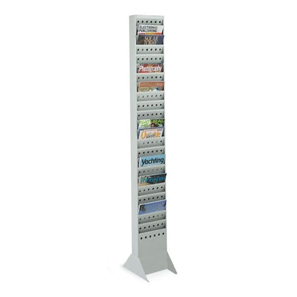 Wall/Floor Magazine Display 23 Pockets Gray 65.5 in x 10 in x 4 in Each