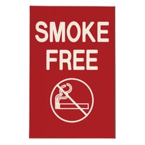 Formatted Wall Sign Smoke Free Plastic 4 in x 6 in Ea