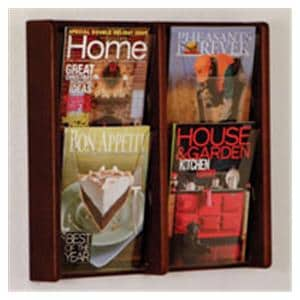 Stance Wall Magazine Display 4 Pockets Mahogany 19 in x 21.25 in x 3 in Ea