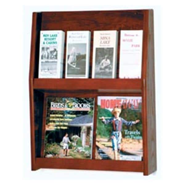 Slope Wall Literature Display 8 Pockets Mahogany 19.5 in x 24.5 in x 4.75 in Ea