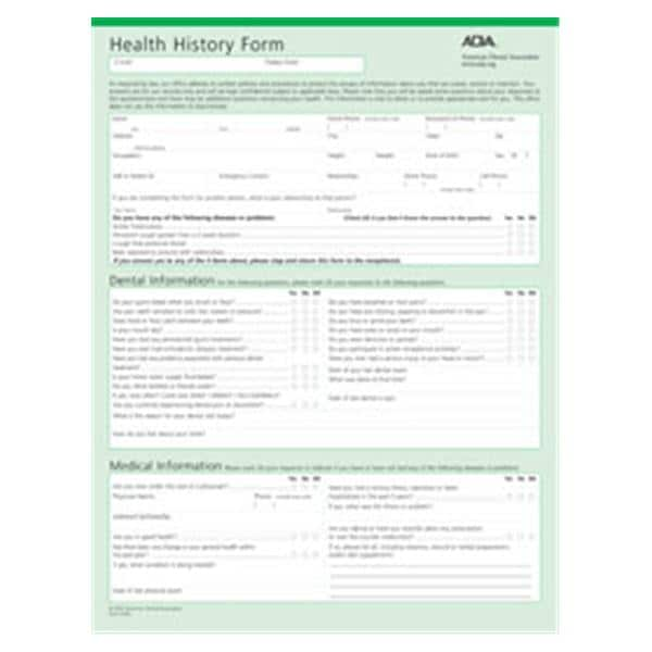 health history forms