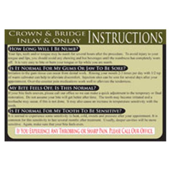 dental care cards crown bridge english refill 100pk
