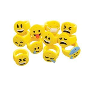Stretchy Rings Emoticon Assorted Colors Rubber 36/Pk