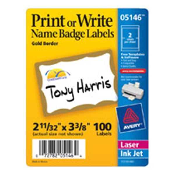 Avery Self-Adhesive Name Badges Gold Border 100/Pack 100/Bx