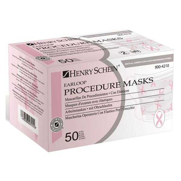 Earloop Face Mask Astm Level 1 Pink Ribbon 50 Bx